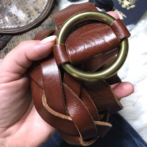 FOSSIL Braided Woven Leather Slide Buckle Belt